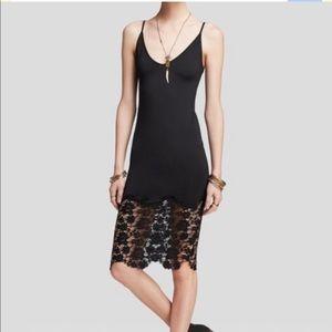 Free People Black Slip Lace Dress true slinky xs
